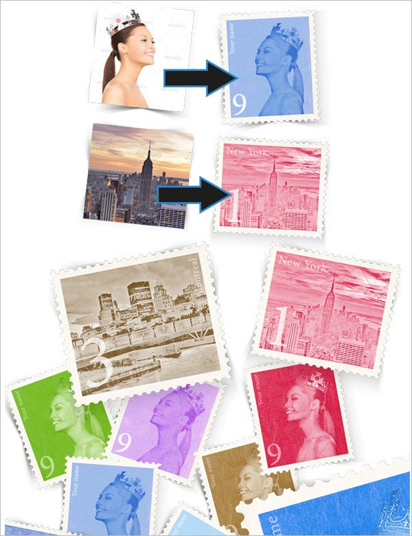 retro postage stamp template