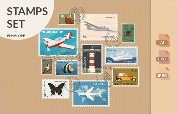 retro postage stamps collection template