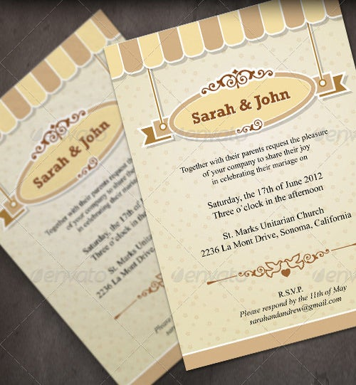 retro wedding menu template