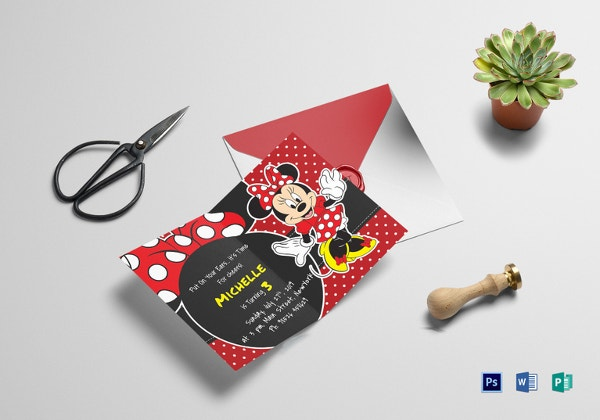 rocking minnie mouse birthday invitation card template