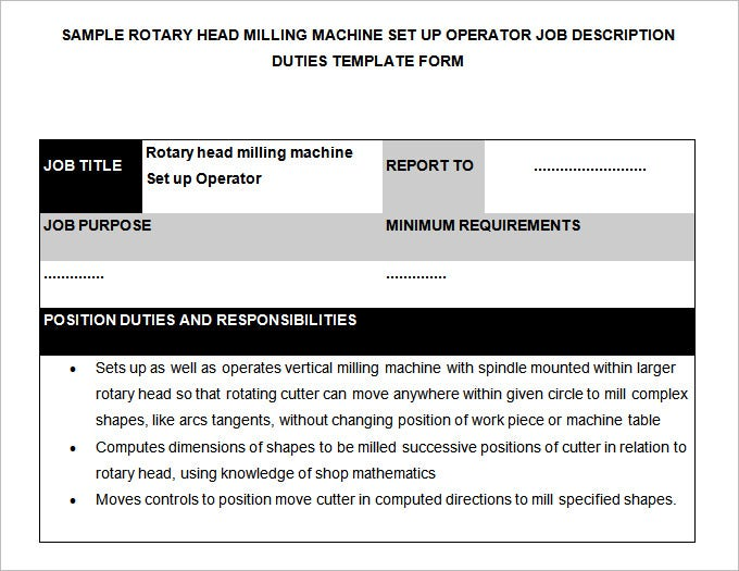 Machine Operator Job Description Templates 11 Free Sample. Machine