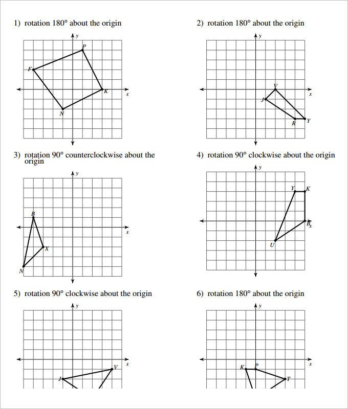 15 Coordinate Geometry Worksheet Templates – Rotation Worksheets