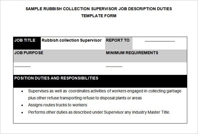 rubbish collection supervisor job description template