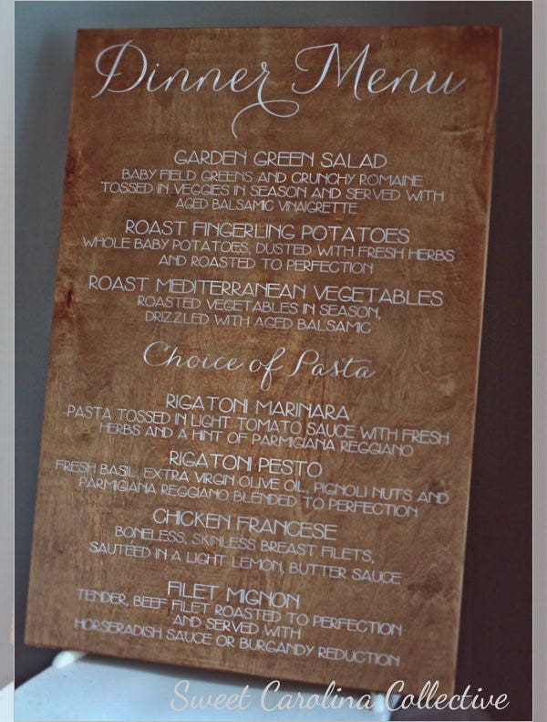 rustic wedding dinner menu template