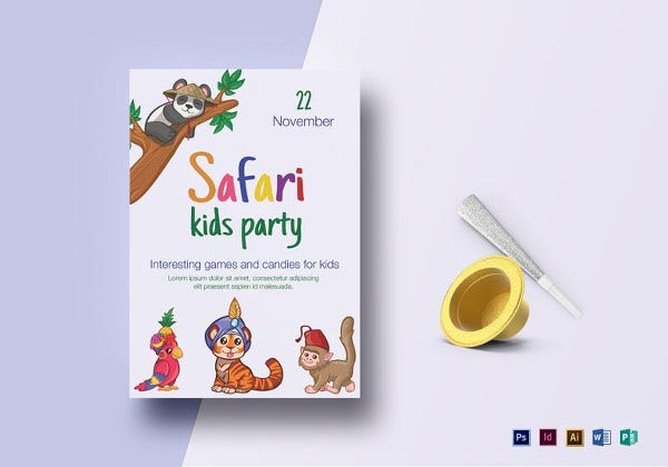 safari jungle kid birthday flyer