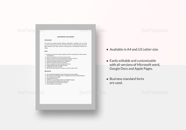 sales-assistant-job-description-template