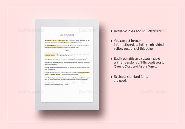 Sales Contract Template 10 Free Word PDF Documents Download – Business Sale Contract Template Free