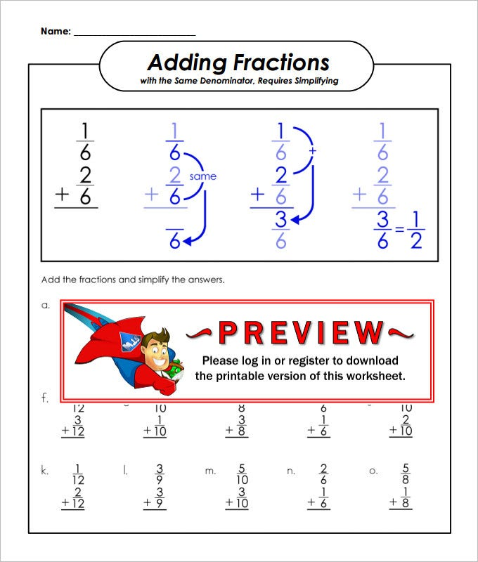 23 Sample Adding Fractions Worksheet Templates – Adding Fractions Worksheets with Answers
