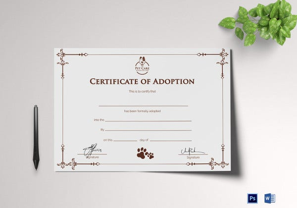 sample adoption certificate template