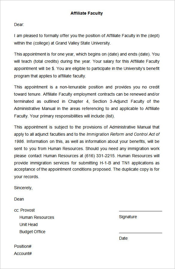 Faculty Appointment Letter Format