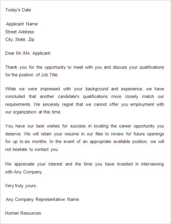Superior Sample Application Rejection Letter