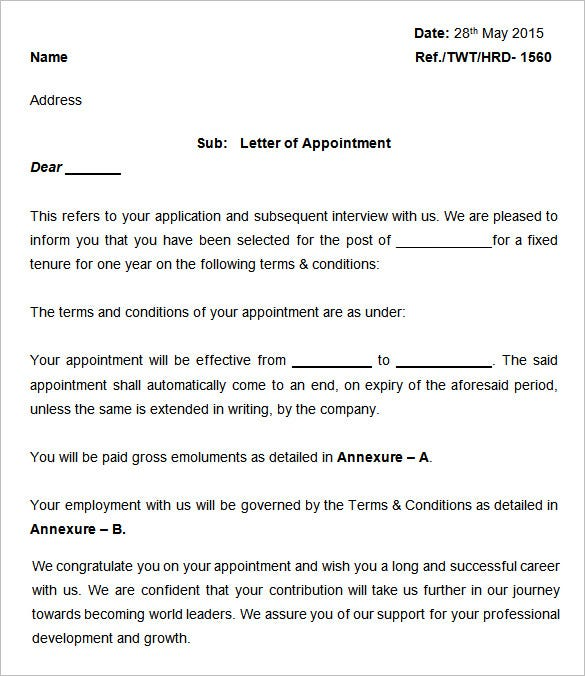 sample of appointment