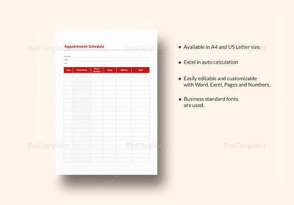 sample appointment schedule template