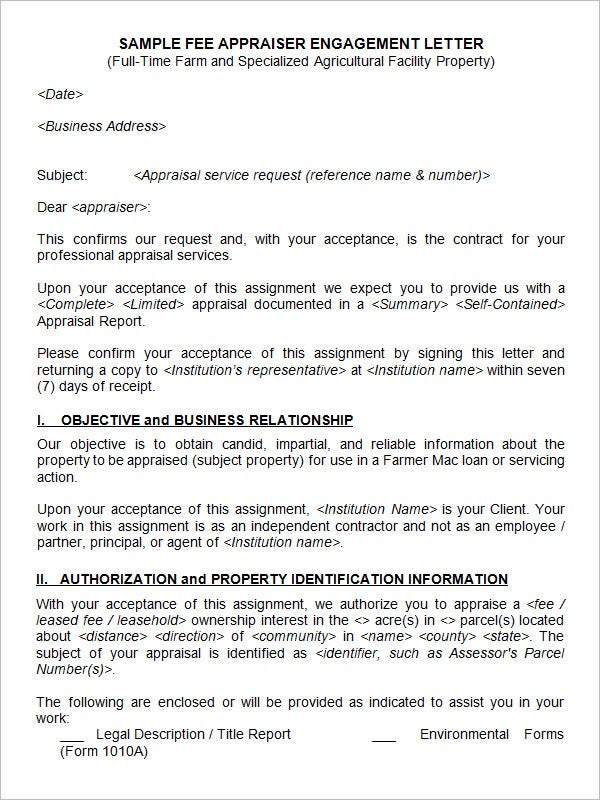 25 sample appraisal letters pdf doc free premium for Letter of engagement consulting template