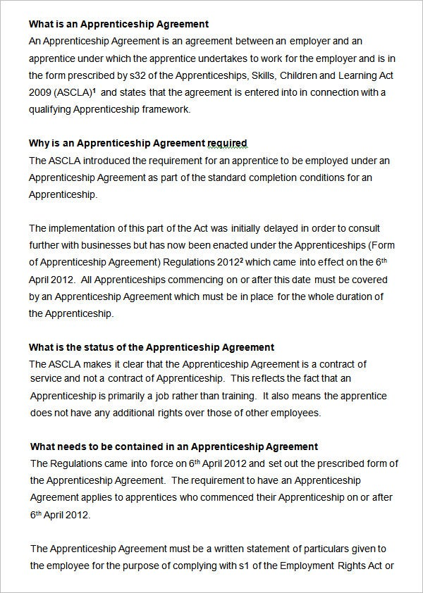 Sample Apprentice Agreement Template