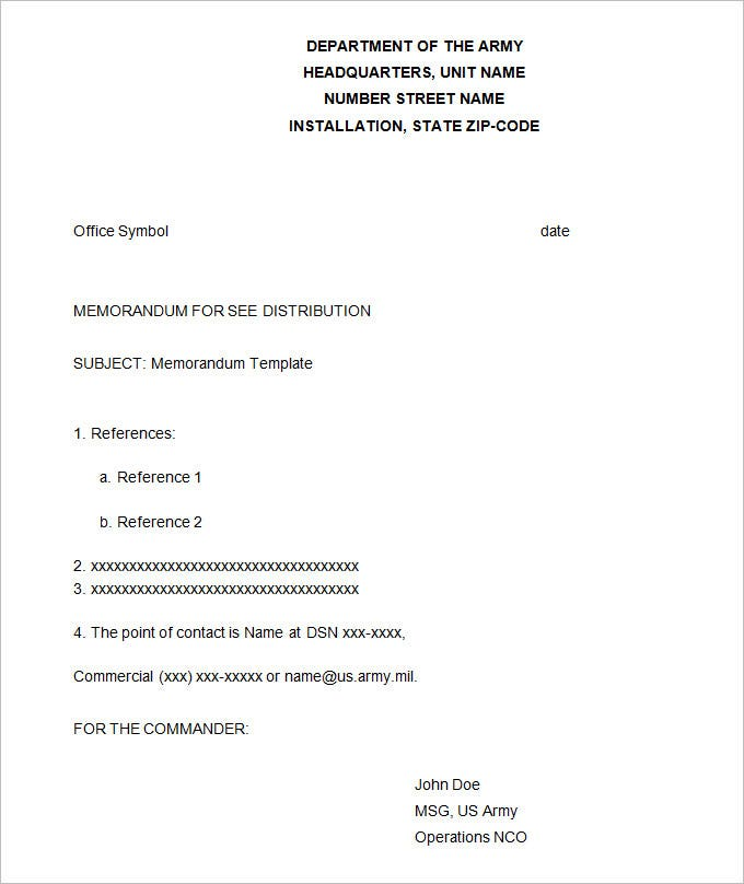 Army Memorandum Template 4 Free Word PDF Documents Download – Point of Contact Template