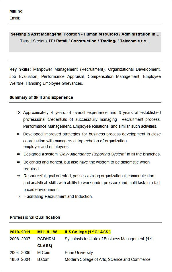 Sample Asst HR Manager Resume Format  Hr Manager Resume