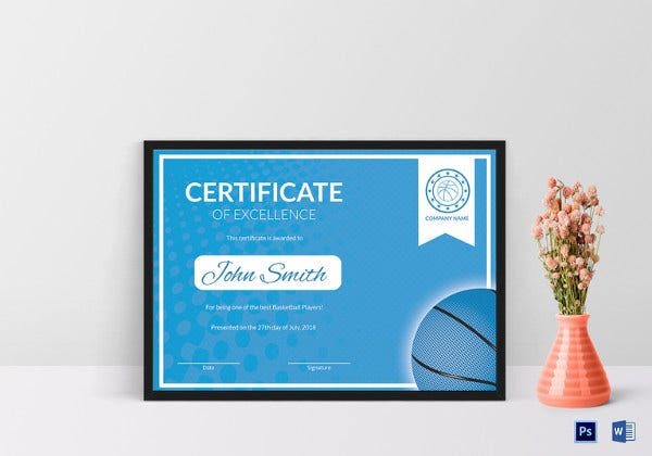 sample basketball excellence certificate template