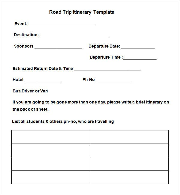 sample blank road trip itinerary template free download