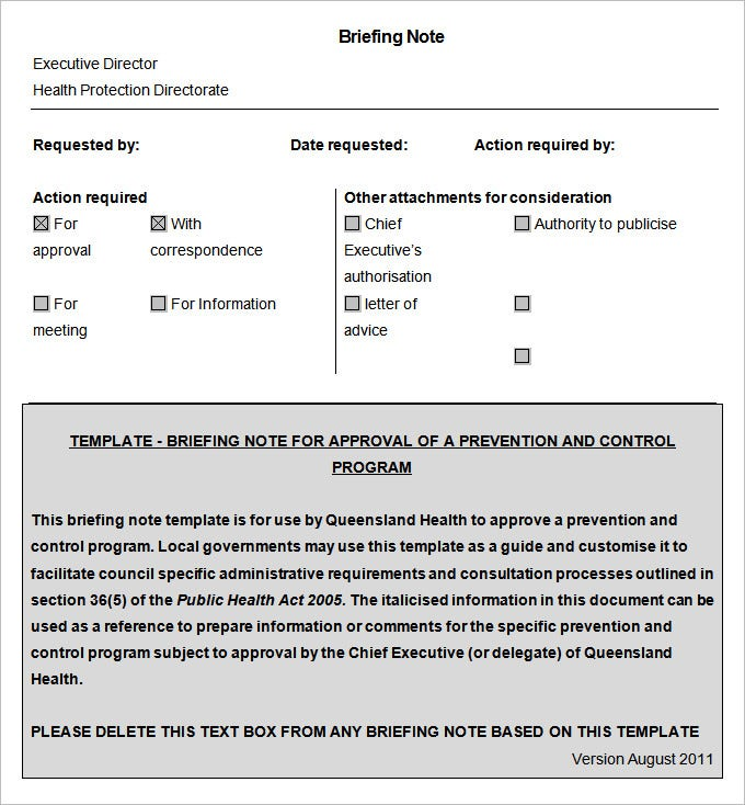 Briefing Note Template   Free Word Documents Download  Free