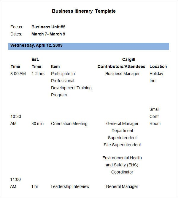 Business Itinerary Template Free Download