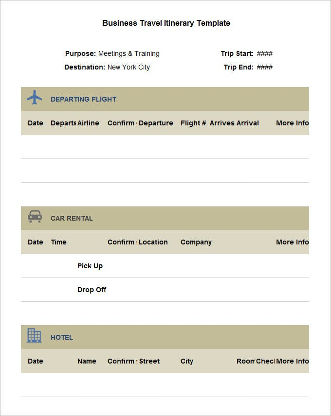 Sample Business Travel Itinerary Template Free Download