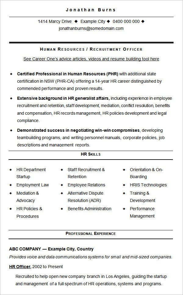 sample cv template hr recruitment - Sample Resume Format Pdf