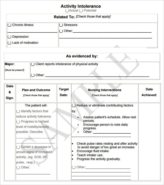 Care Plan Template  WowcircleTk