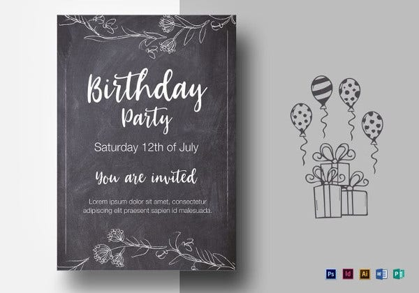 sample chalkstyle birthday party flyer