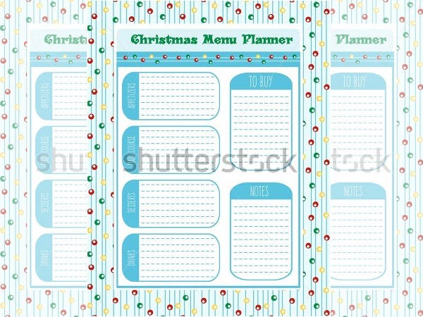 sample christmas menu planner vector