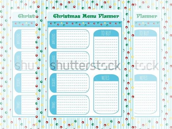 sample christmas menu planner vector