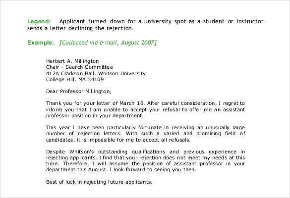 sample college rejection letter template
