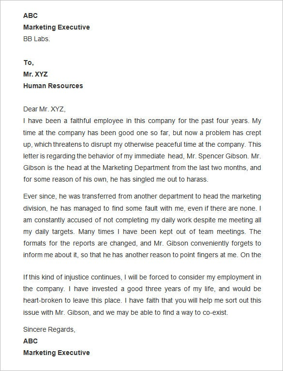 Letter of complaint to employer heartpulsar letter of complaint to employer expocarfo Choice Image