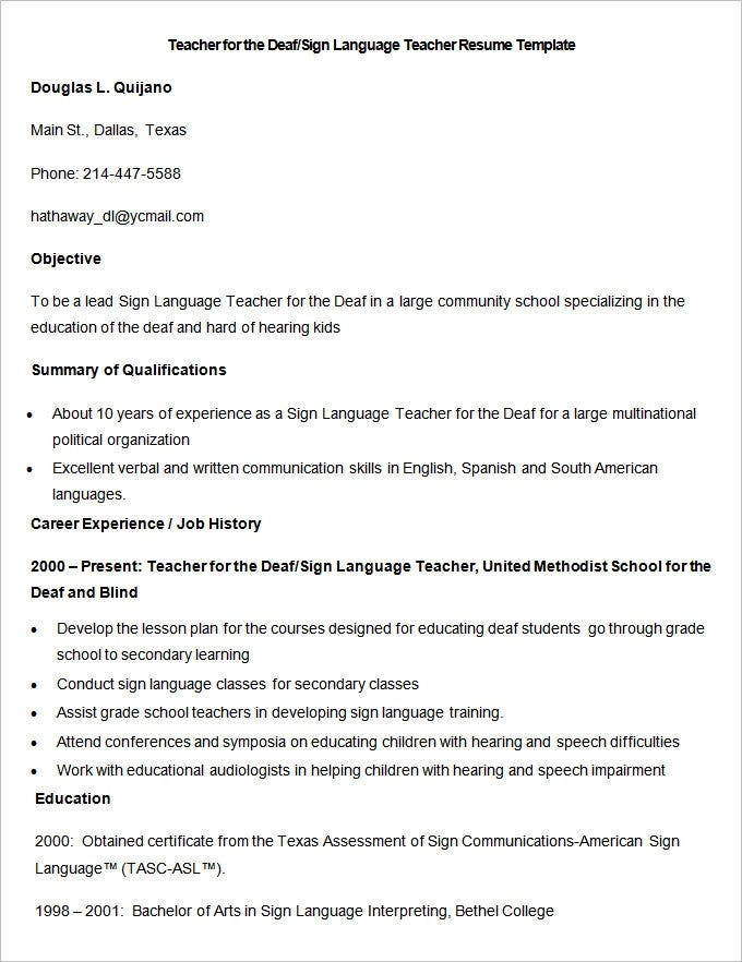 sample deaf sign language teacher resume template