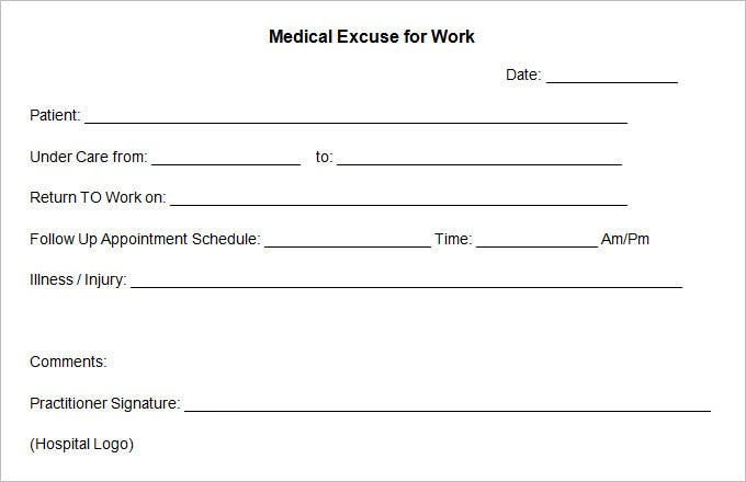 doctors excuse for work from hospital