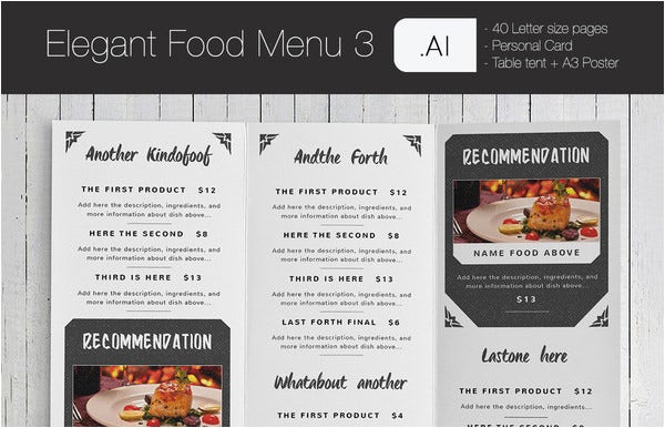 sample elegant food menu card template