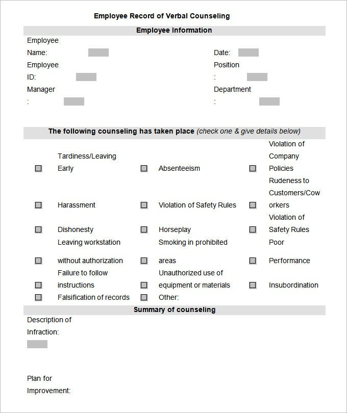 Employee Counseling Samples Pictures to Pin PinsDaddy – Employee Counseling Form