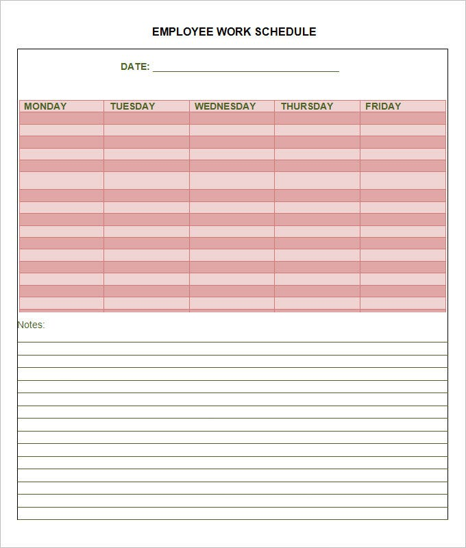 sample employee work schedule template