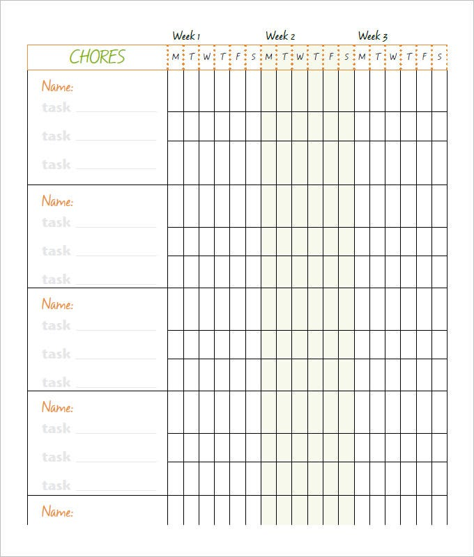 photograph relating to Chore Chart Printable Free known as 9+ Family members Chore Chart Templates - PDF, Document, Excel No cost