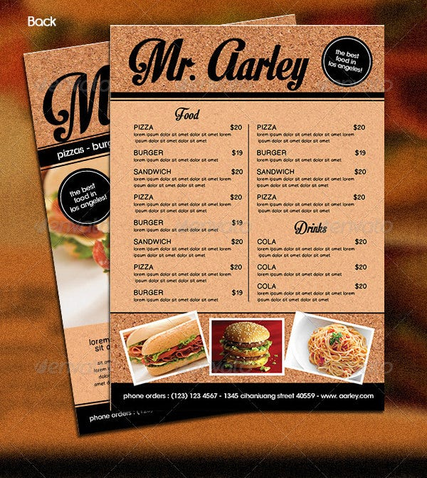 sample fast food menu template