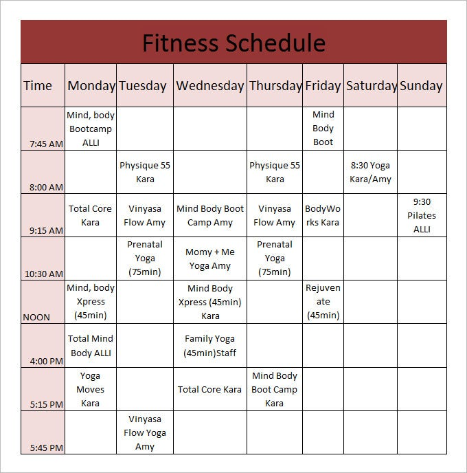 Fitness Schedule Templates 7 Free Excel PDF Documents Download – Workout Char Template