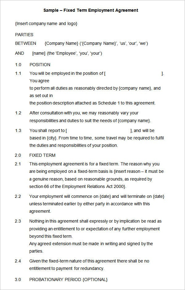 Employment agreement contract 6 contract of employment for Fixed price construction contract template