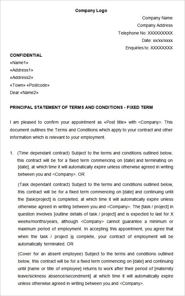 Employment Contract Standard Employment Contract Form Sample