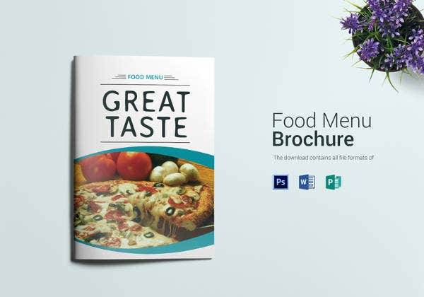 sample food menu bi fold template