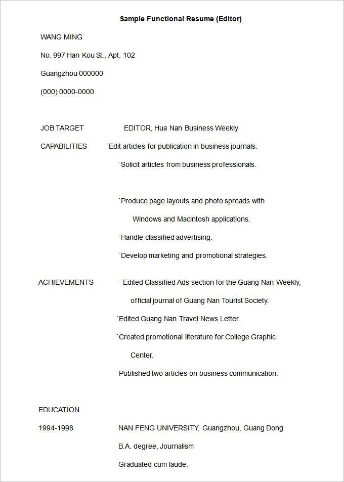 Sample Functional Resume (Editor). Free Download