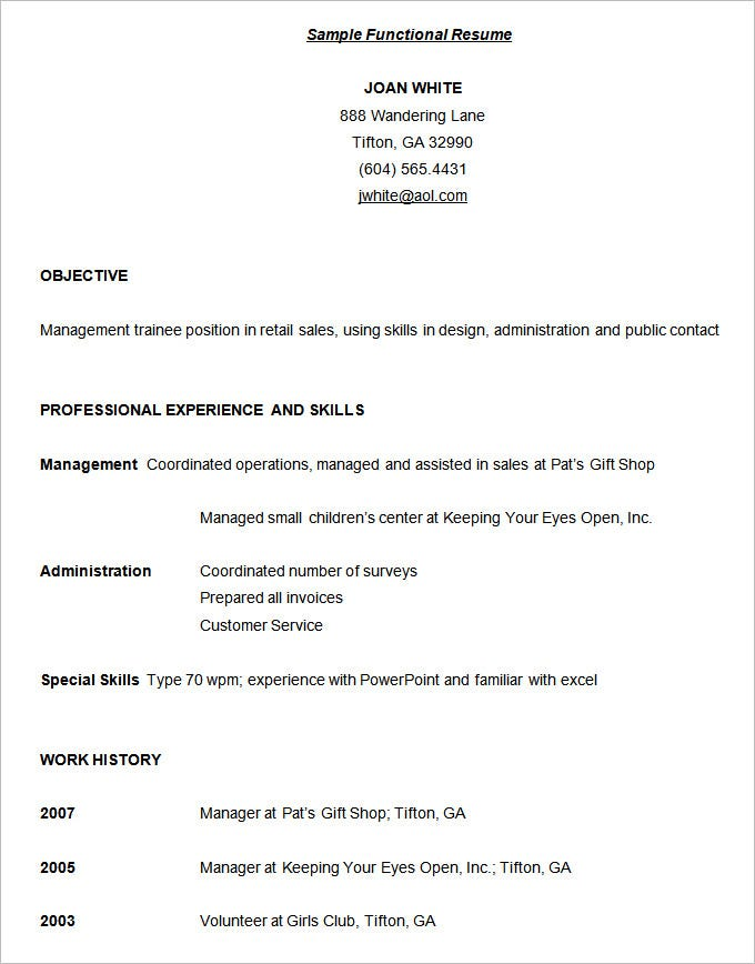 Sample Functional Resume Technical College Free Download