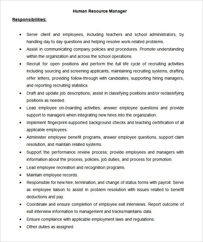 human resource job description job description example hr