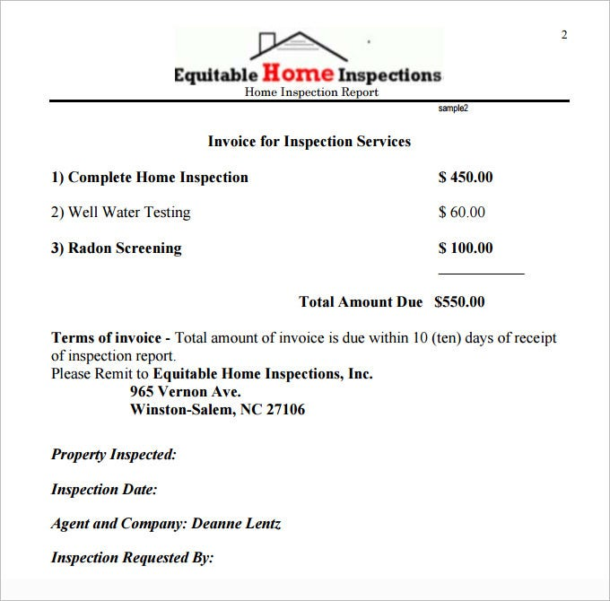 sample home inspection report template download