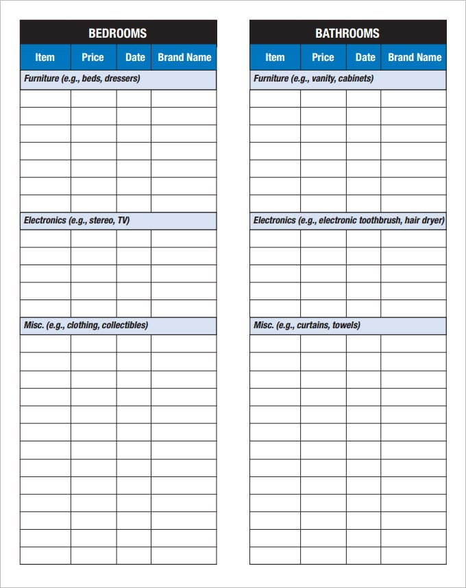 Sample Home Inventory Checklist In Pdf  Inventory Checklist Template