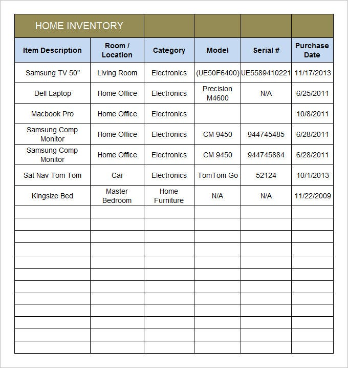 Home Inventory Template 7 Free Excel PDF Documents Download – Home Inventory Template
